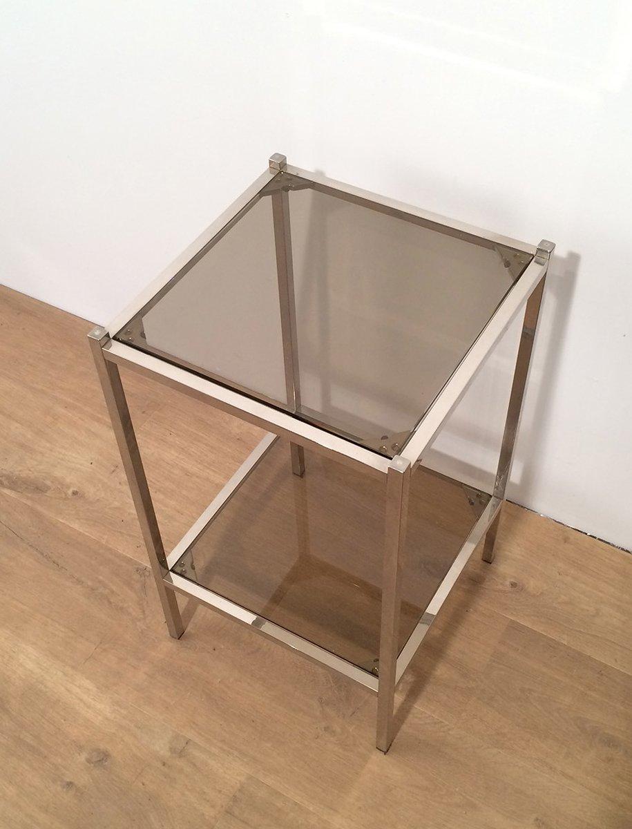 vintage beistelltische aus metall und glas 2er set bei pamono kaufen. Black Bedroom Furniture Sets. Home Design Ideas