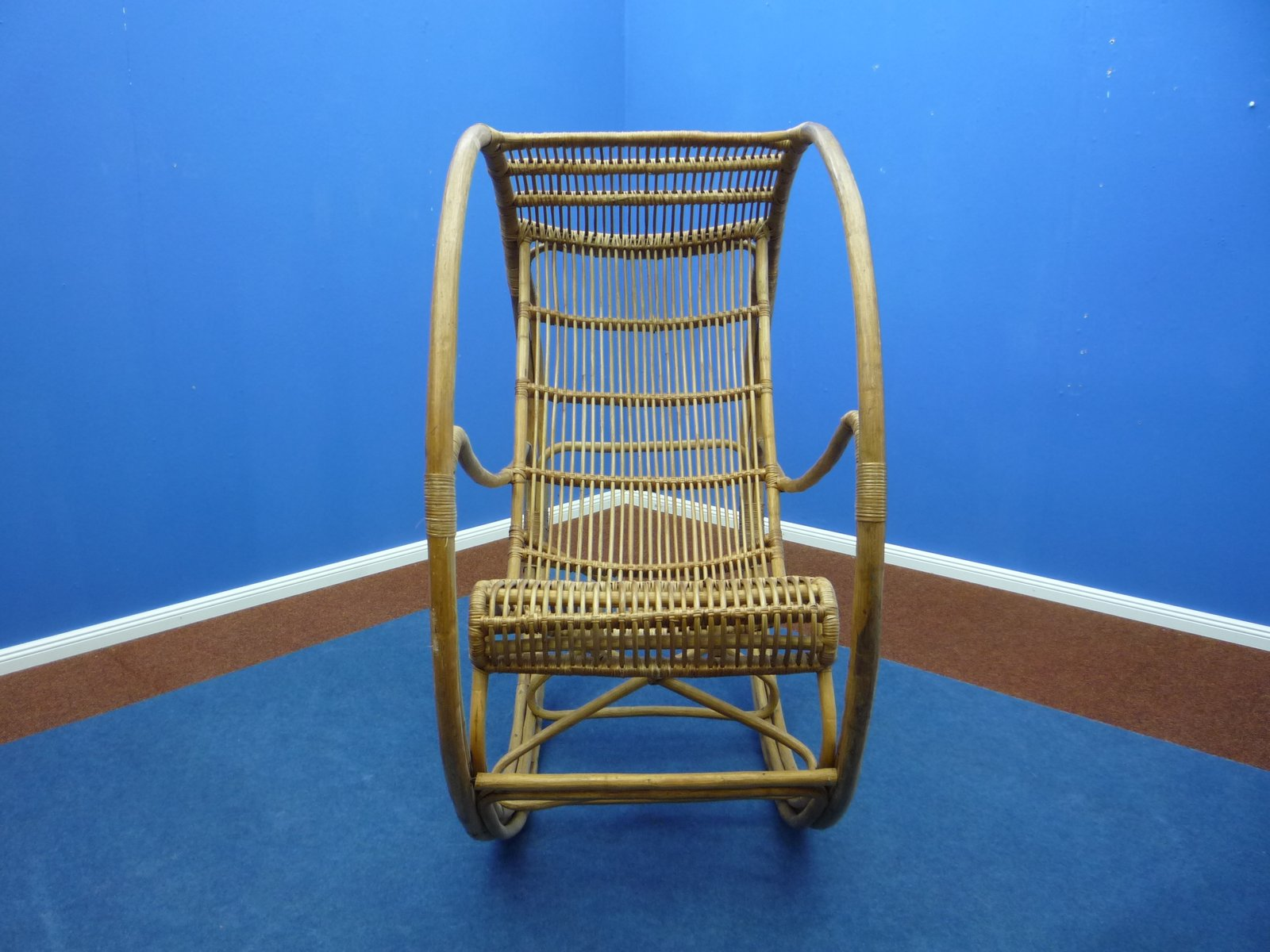 Rattan Wicker Rocking Chair 1960s For Sale At Pamono