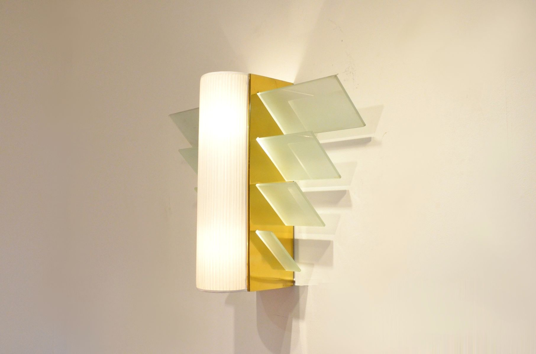 XL Modernist French Golden Metal & Glass Wall Sconce, 1930s for sale ...