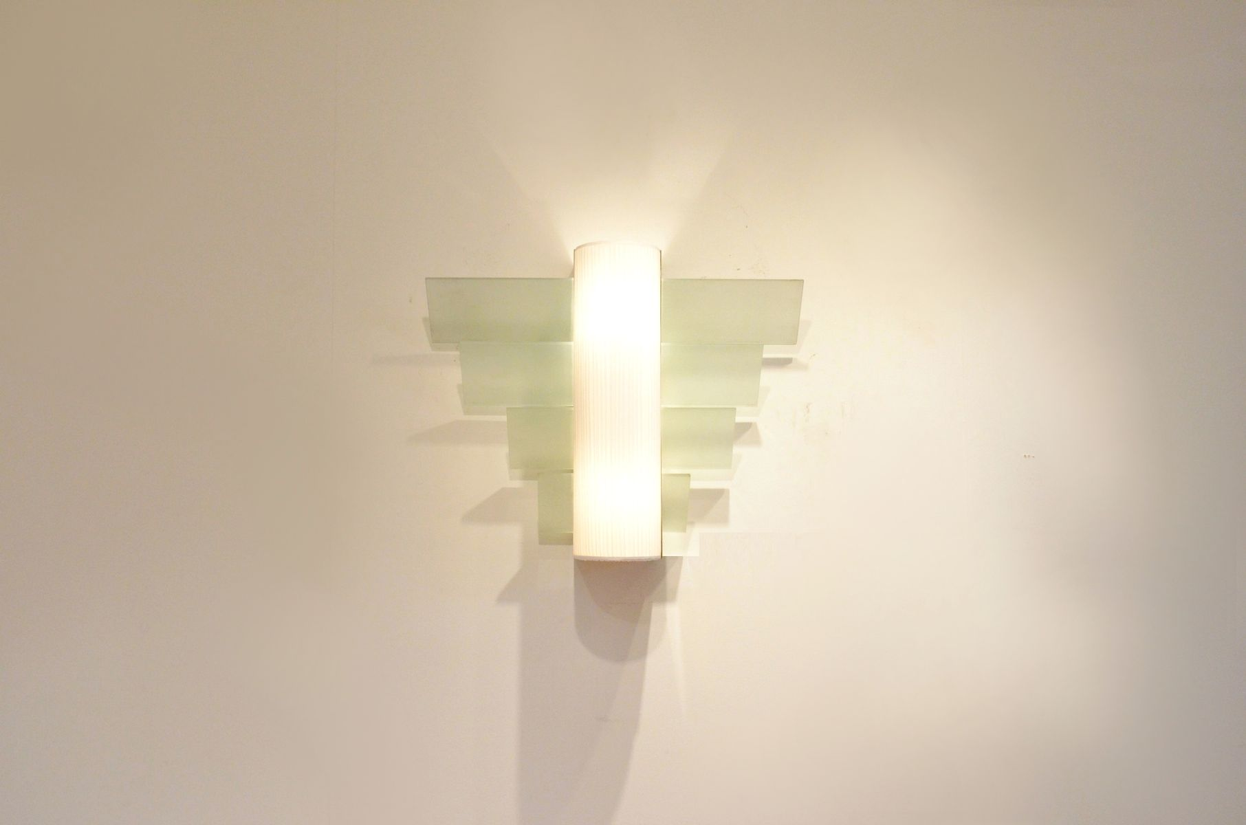 Xl Modernist French Golden Metal Glass Wall Sconce 1930s For Sale