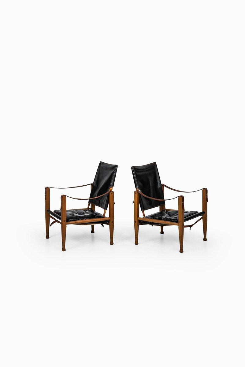 Black Leather Safari Chairs By Kaare Klint For Rud Rasmussen, Set Of 2