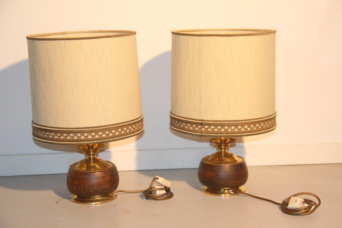 Lampade da tavolo in legno e ottone italia 1950 set di 2 in