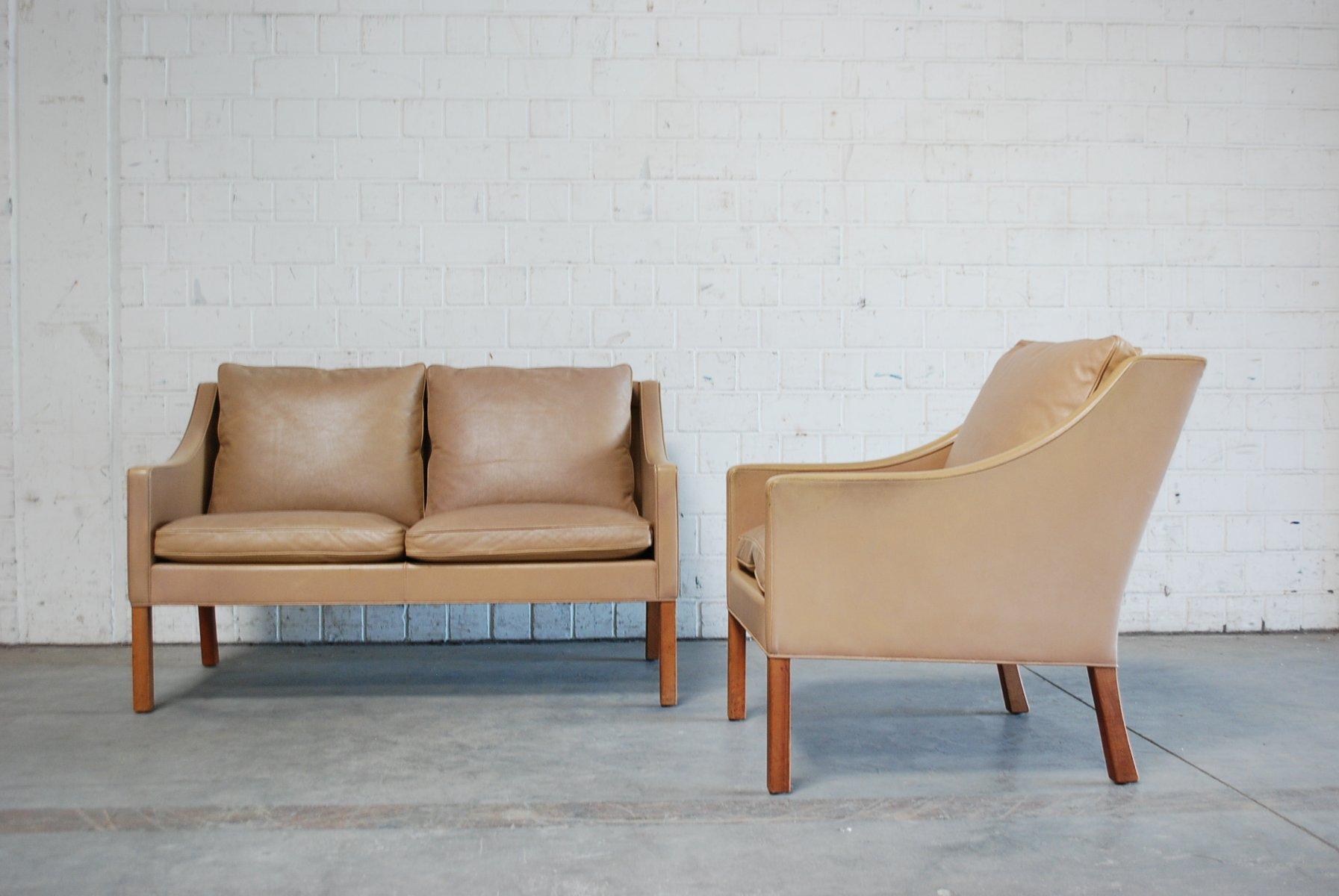 Braunes Vintage 2208 & 2207 Sofa & Sessel von Børge Mogensen für Frede...