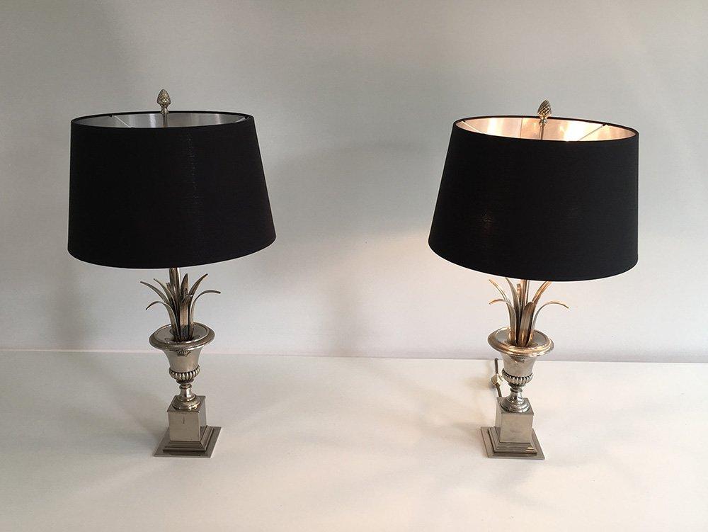 Vintage Tischlampen mit Grass Dekor, 2er Set