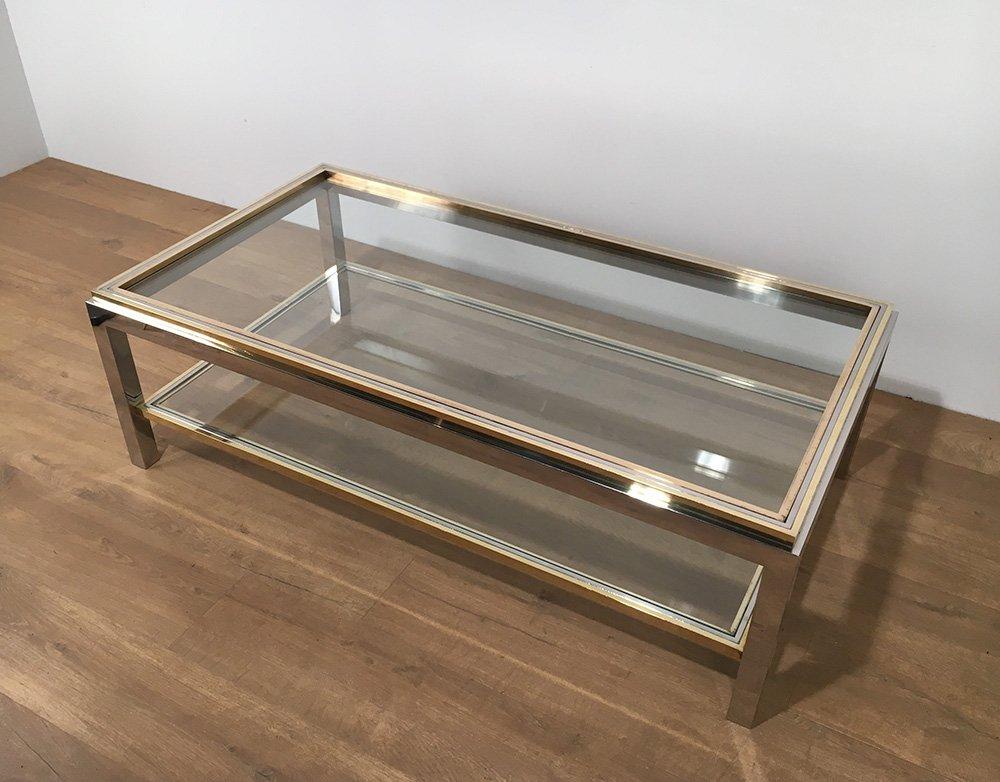 vintage glas messing couchtisch von willy rizzo 1970er bei pamono kaufen. Black Bedroom Furniture Sets. Home Design Ideas