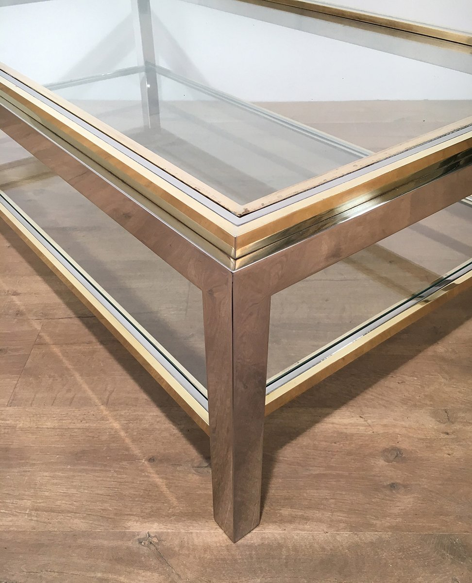 Vintage Glass & Brass Coffee Table By Willy Rizzo, 1970s