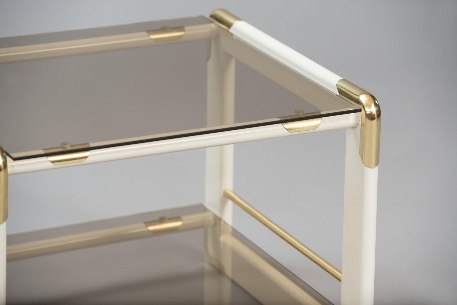 italienischer vintage beistelltisch aus holz messing glas bei pamono kaufen. Black Bedroom Furniture Sets. Home Design Ideas