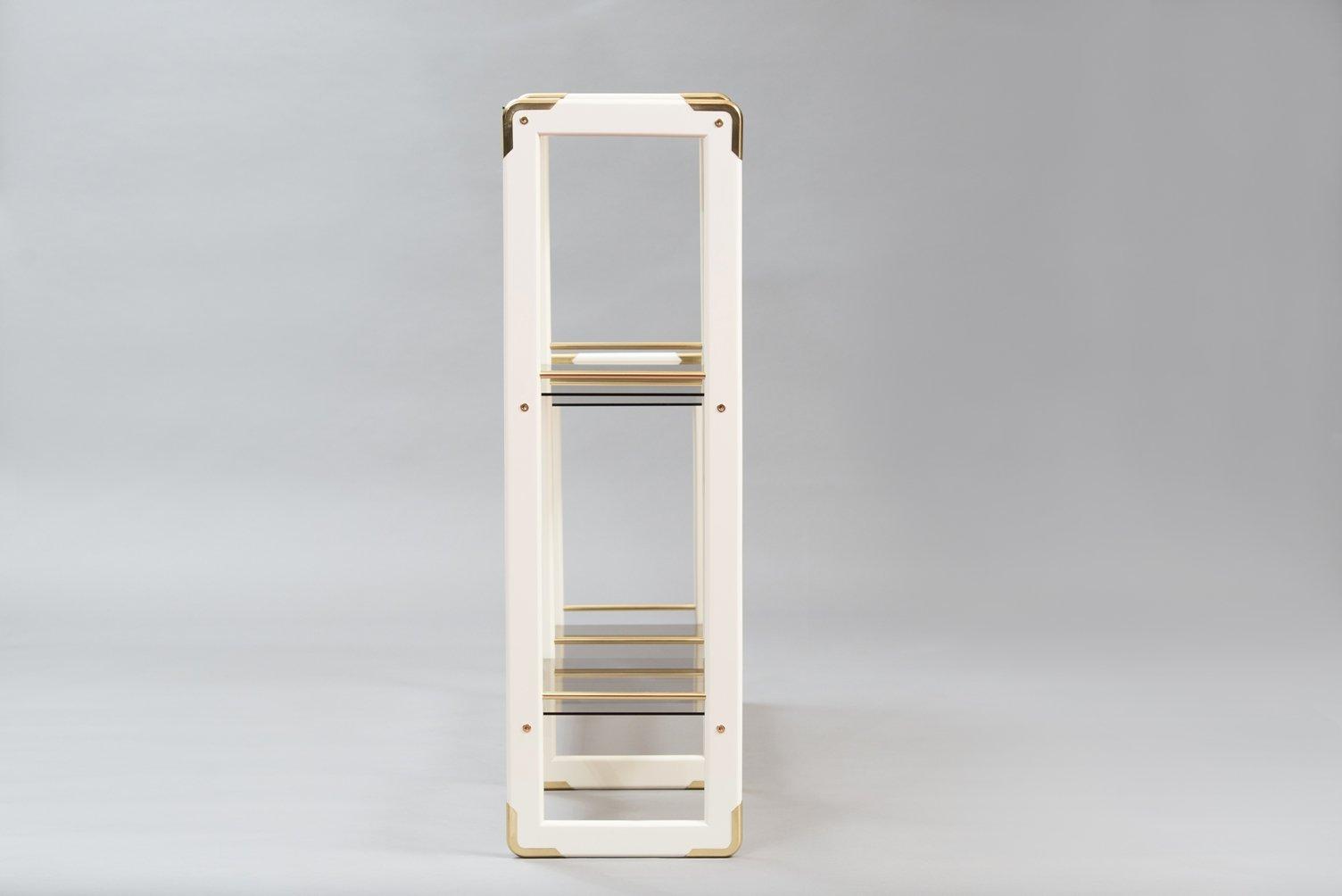 Vintage Italian Wood Brass Glass Bookshelf