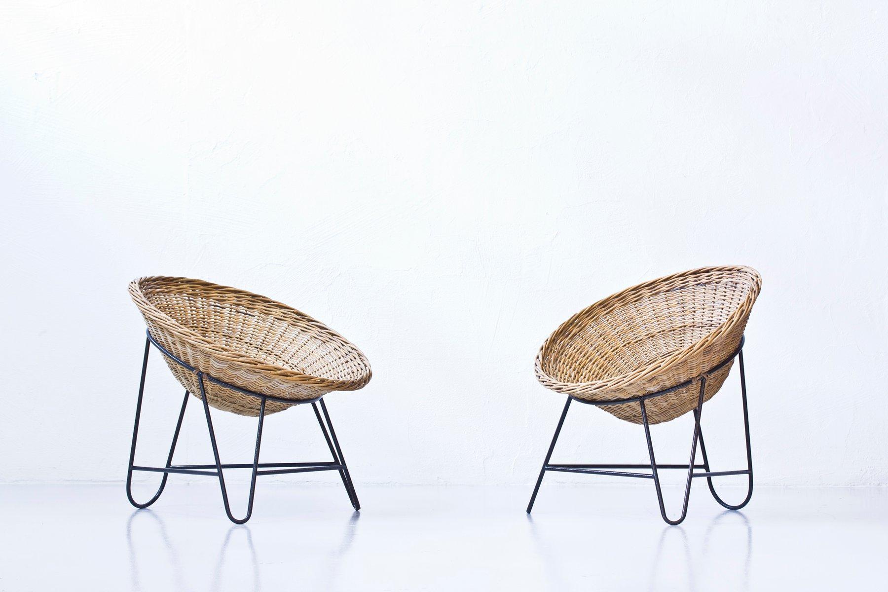 Vintage Rattan Stühle, 2er Set