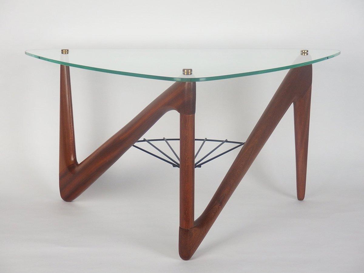 table basse en verre en m tal et en acajou par louis. Black Bedroom Furniture Sets. Home Design Ideas