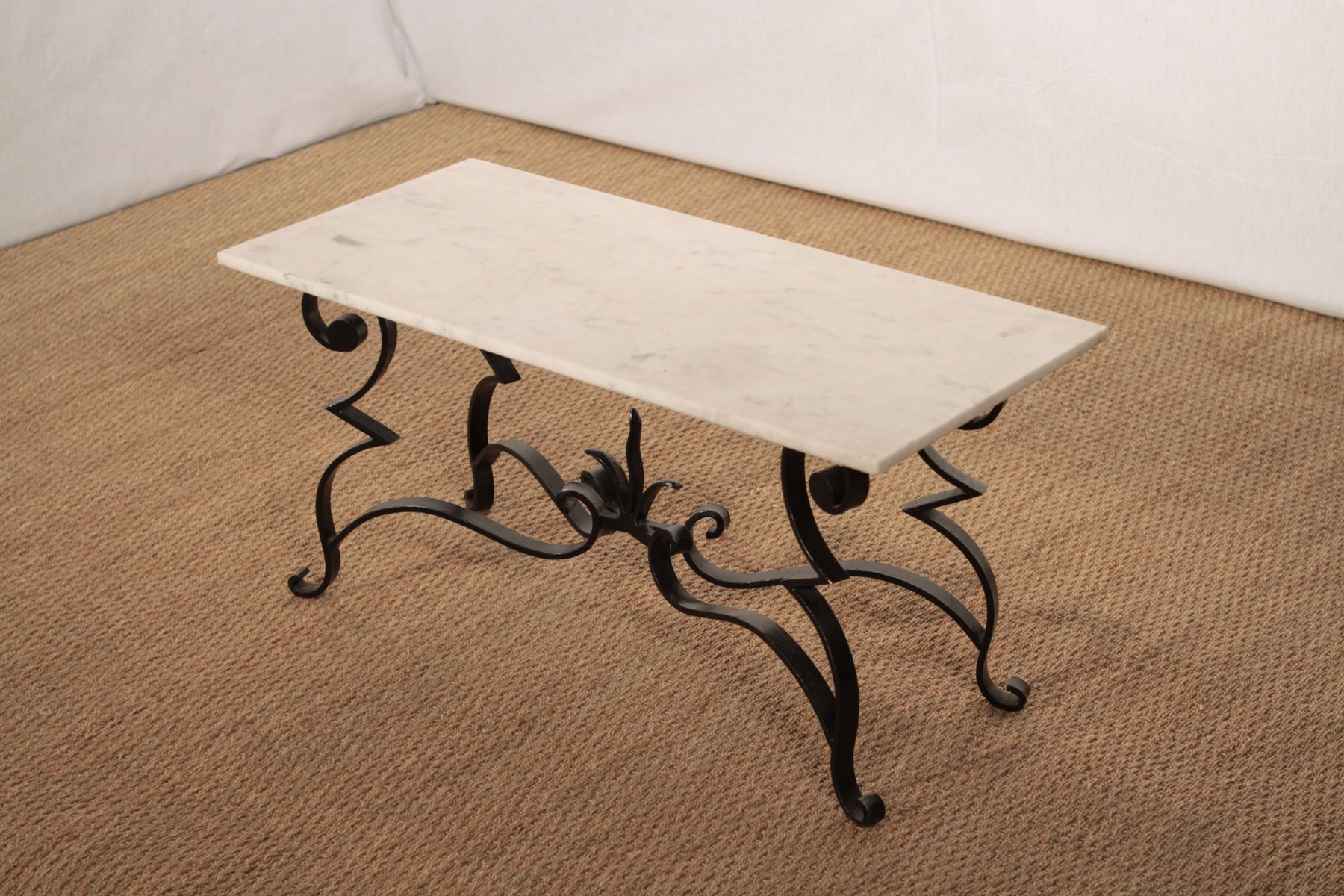 Wrought Iron And Marble Coffee Table 7 381 00