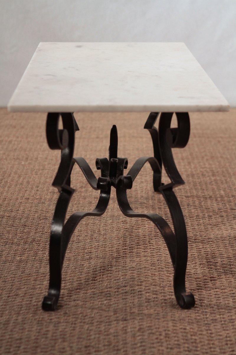 table basse en marbre et en fer forg en vente sur pamono. Black Bedroom Furniture Sets. Home Design Ideas