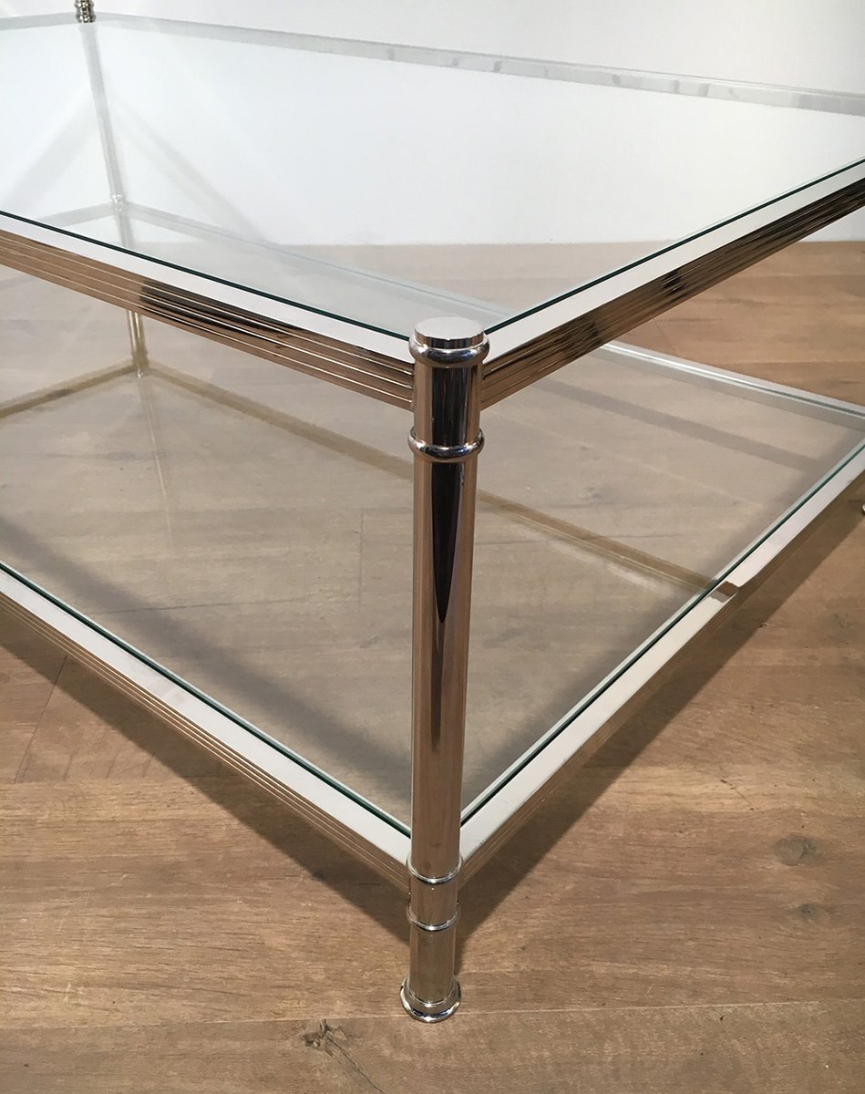 grande table basse en chrome de roche bobois 1970s en vente sur pamono. Black Bedroom Furniture Sets. Home Design Ideas