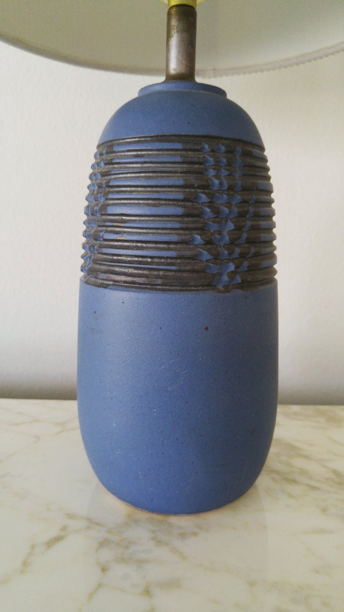 petite blue ceramic lamp by nancy wickham boyd for sale at pamono. Black Bedroom Furniture Sets. Home Design Ideas