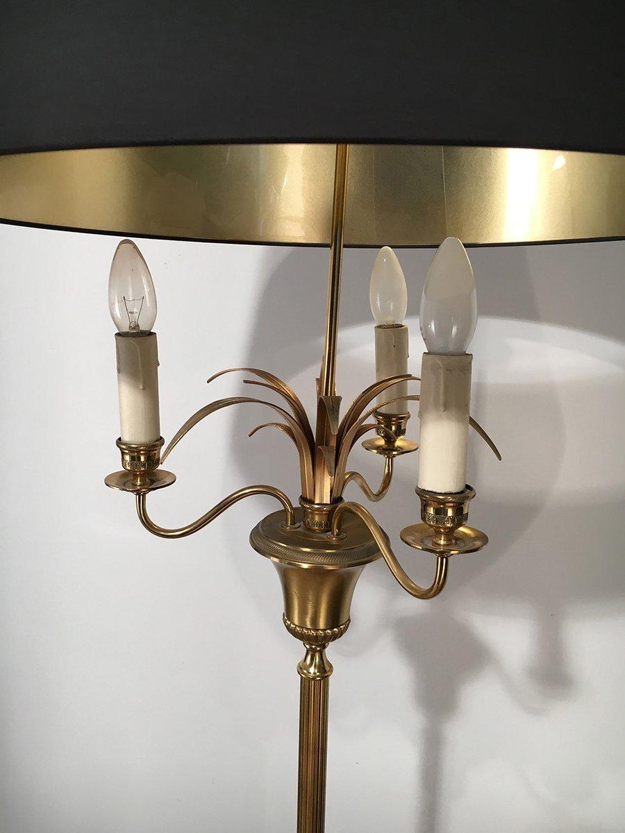 messing stehlampe mit drei leuchten 1940er bei pamono kaufen. Black Bedroom Furniture Sets. Home Design Ideas
