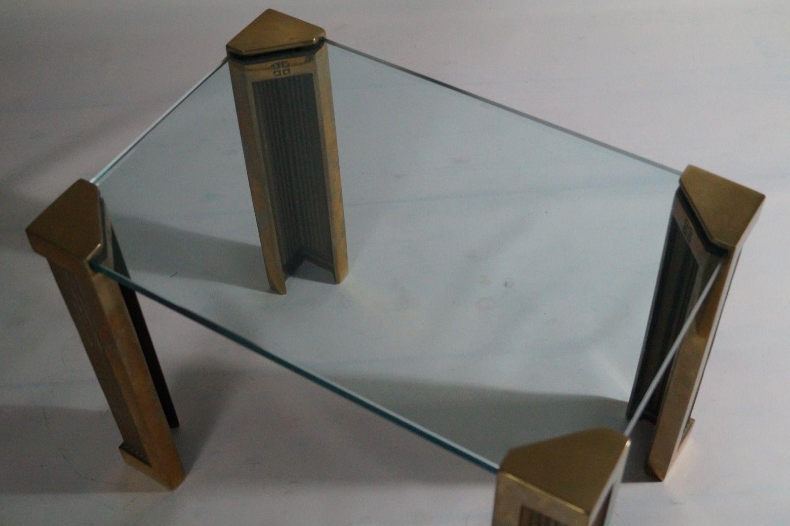 couchtisch aus messing glas von peter ghyczy 1970er bei pamono kaufen. Black Bedroom Furniture Sets. Home Design Ideas