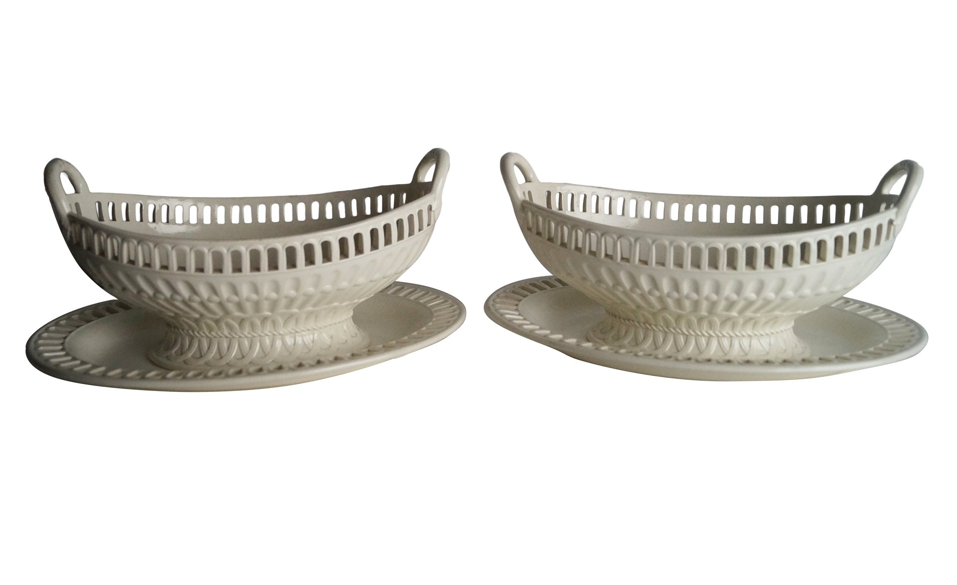 Antique Openwork Baskets From Wedgwood, 1850s, Set Of 2