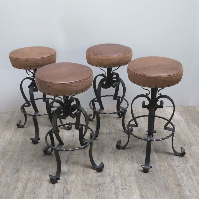 Vintage German Wrought Iron Leather Bar Stools 1970s Set Of 4