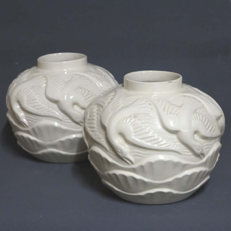 French Art Deco Ceramic Vases 1930s Set Of 2 For Sale At Pamono