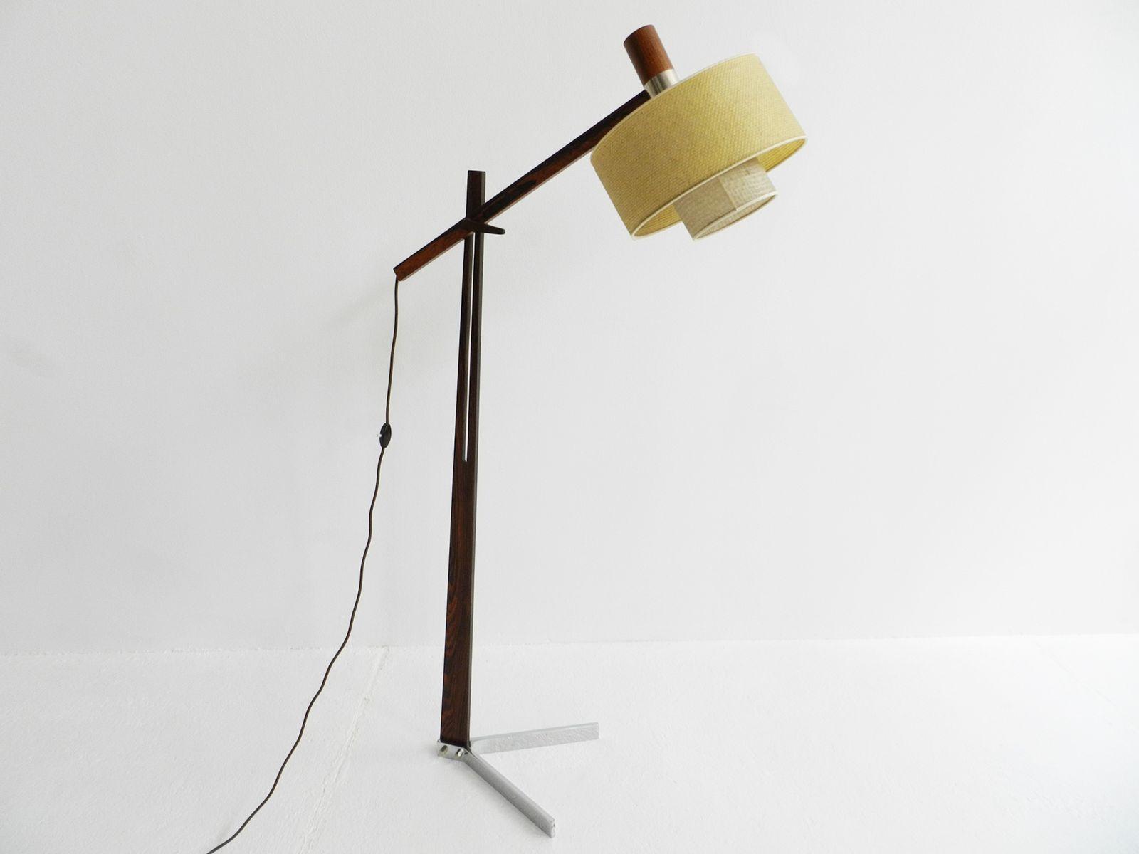 Verstellbare Palisander Stehlampe, 1960er