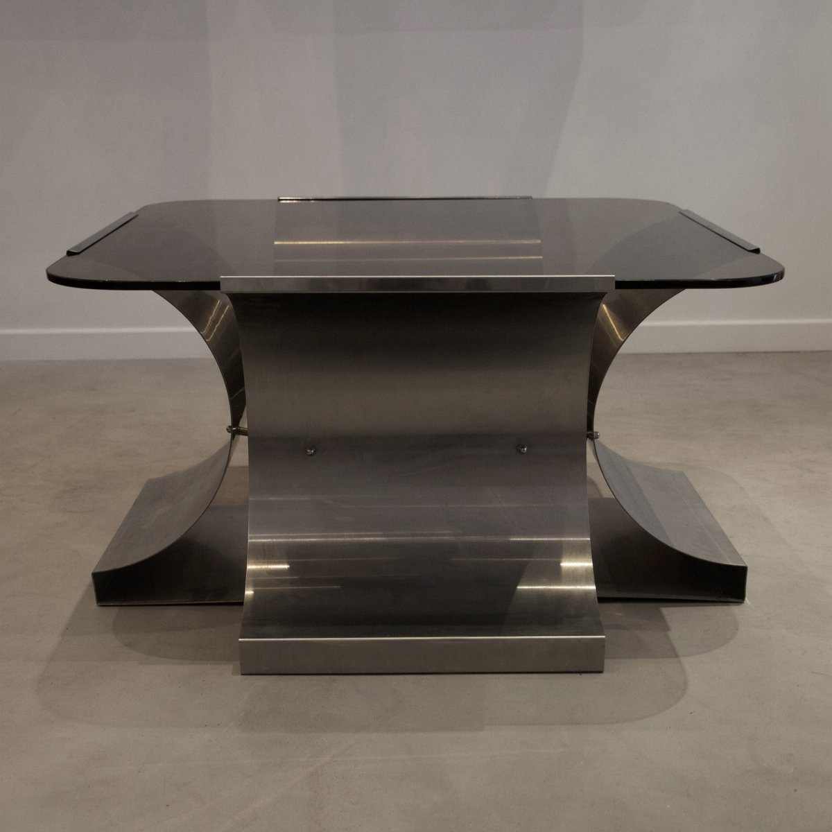 Square Steel Coffee Table Italian C 1970: French Stainless Steel And Glass Coffee Table By François