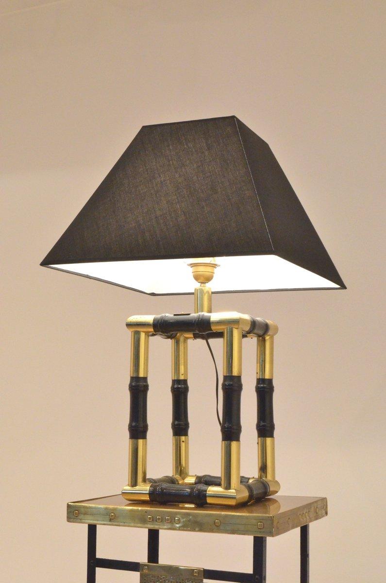 Würfelförmige Lampe mit Sockel aus Messing und ebonisiertem Holz im Ba...