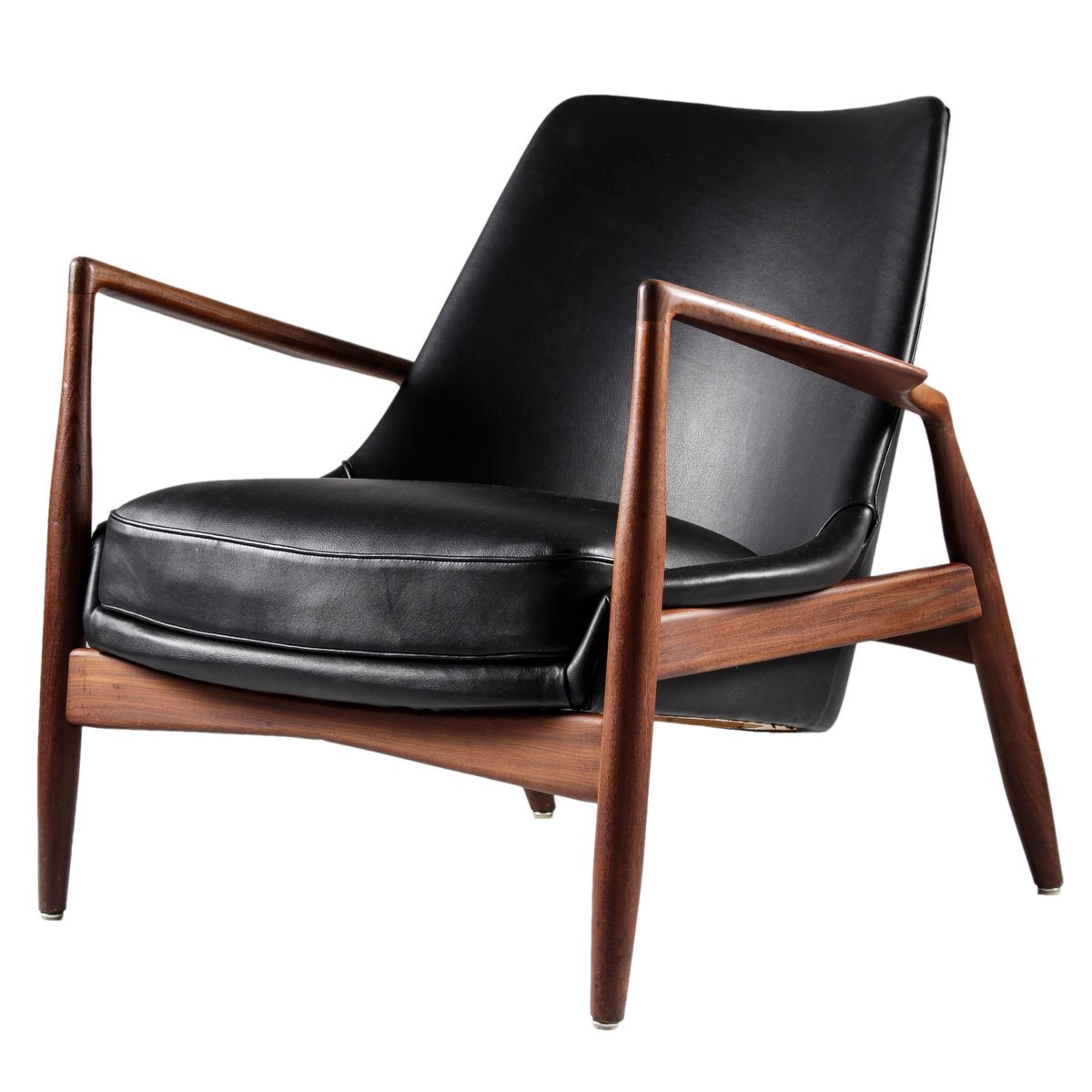 Attrayant Black Leather Seal Chair By Ib Kofod Larsen For OPE Möbler