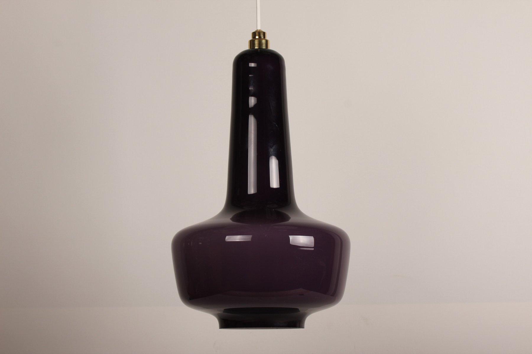 Purpurfarbene Kreta Lampe aus Glas von Jacob E. Bang für Holmegaard, 1...