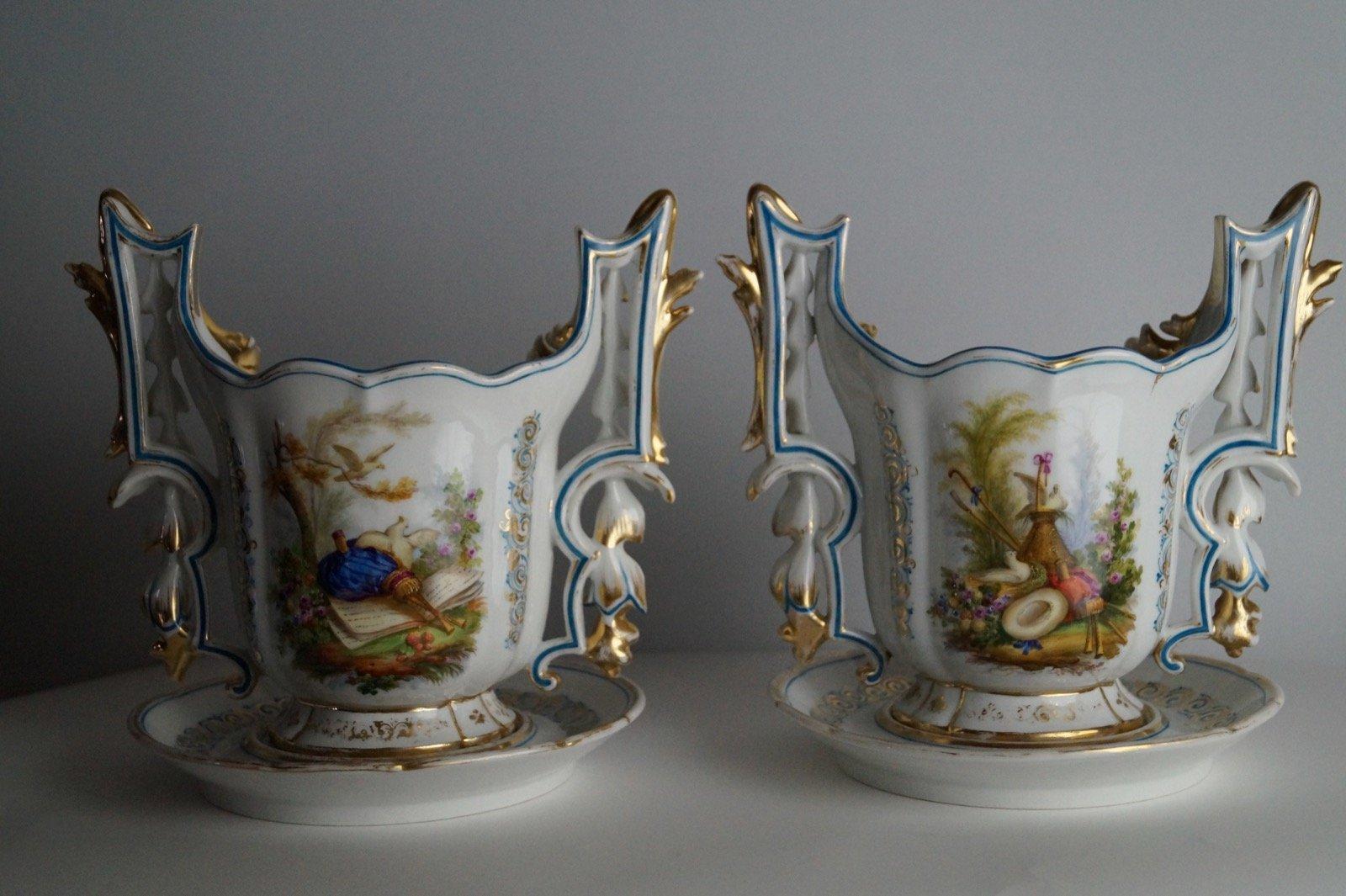 Vasi da fiori antichi vieux paris set di 2 in vendita su for Vasi antichi