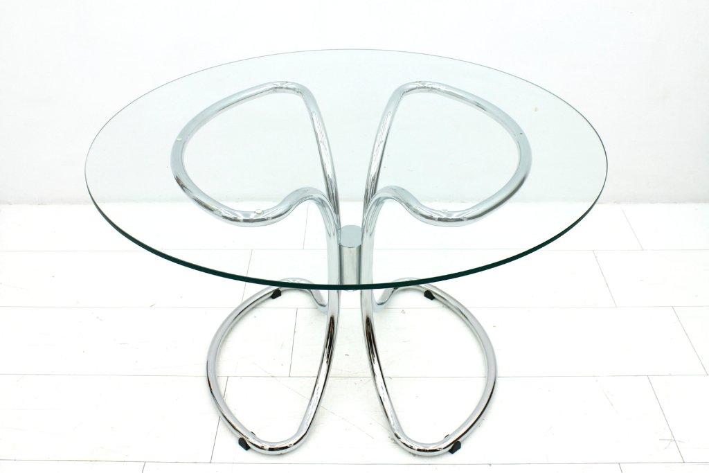 italienischer esstisch aus glas chrom 1970er bei pamono kaufen. Black Bedroom Furniture Sets. Home Design Ideas