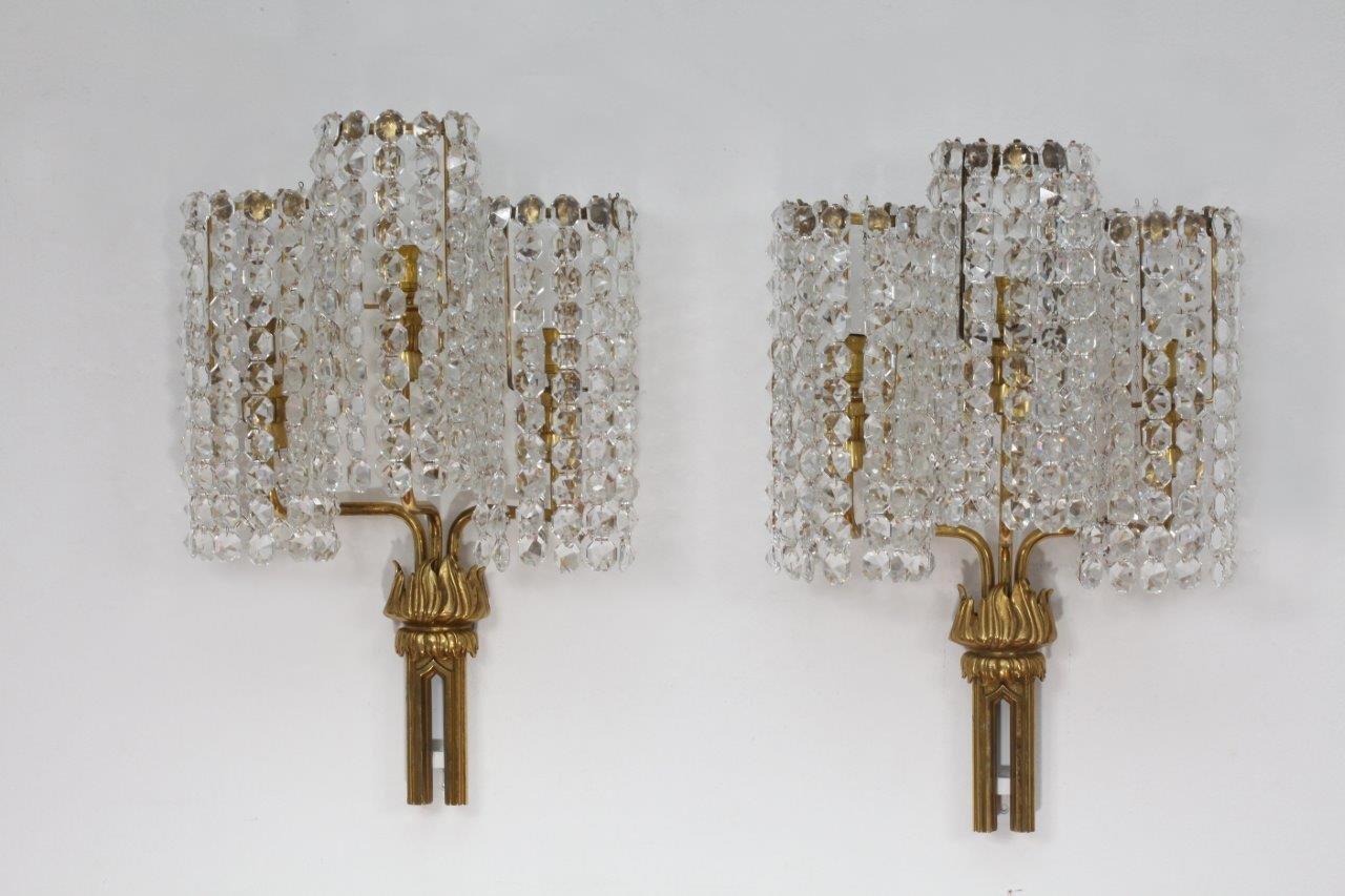 Große Österreichische Kristall Wandlampen, 1950er, 2er Set