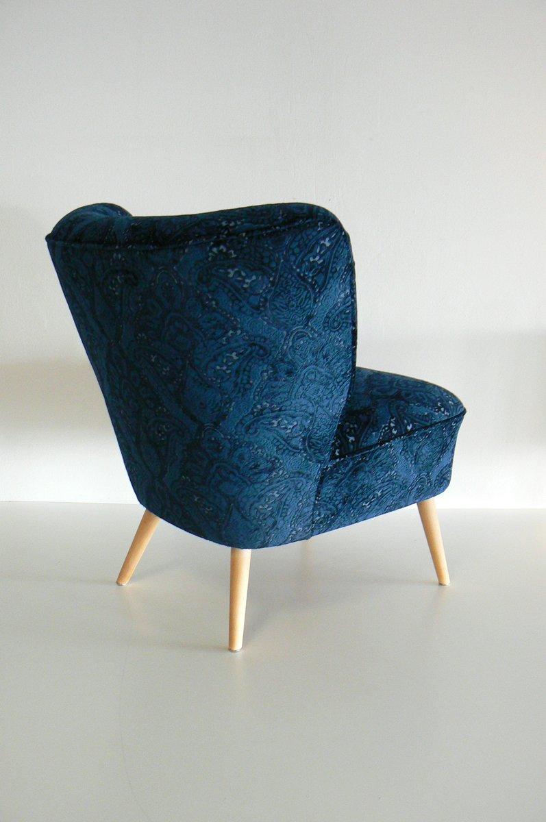 german navy velvet club chair 1950s for sale at pamono. Black Bedroom Furniture Sets. Home Design Ideas