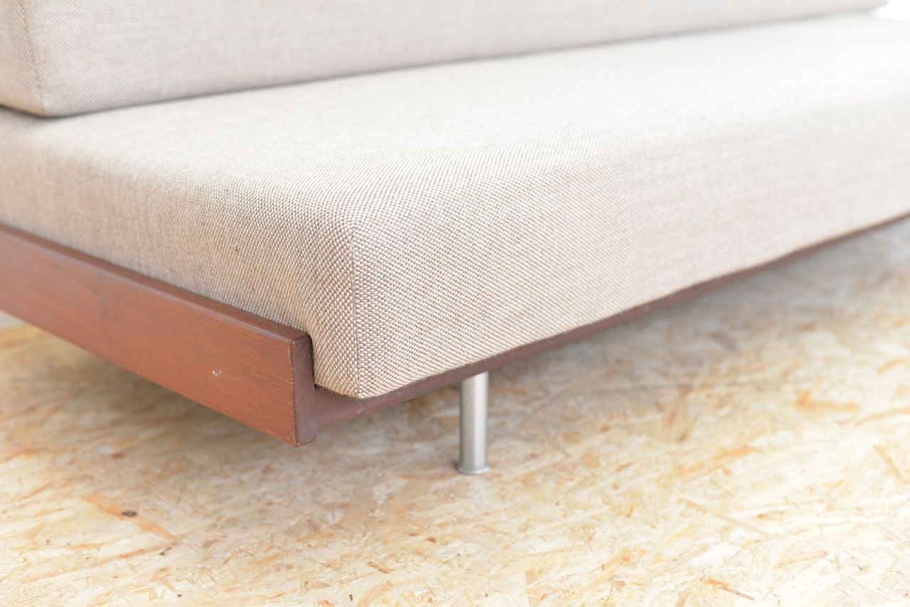 Fabric Tubular Metal And Solid Wood Daybed, 1960s For Sale