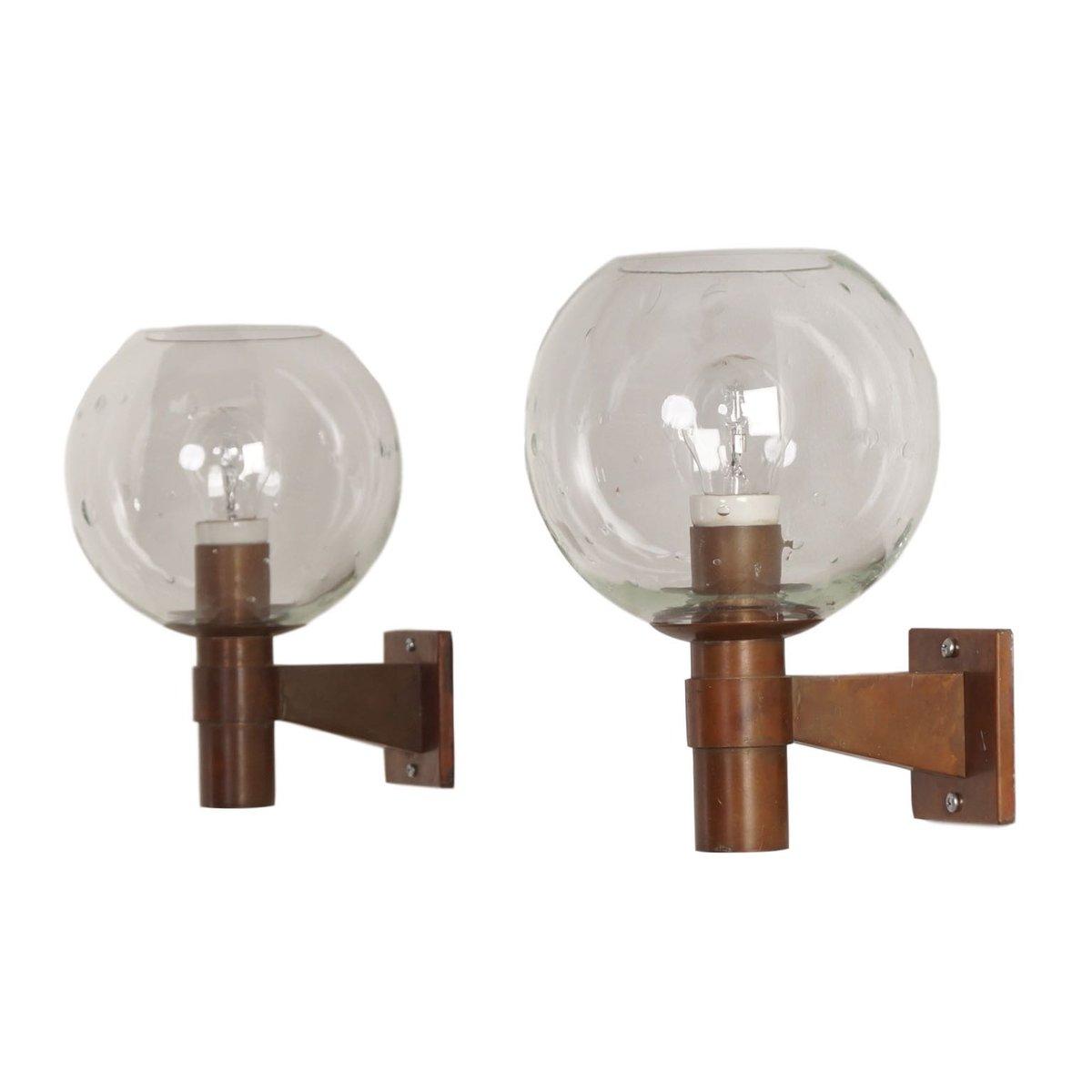 Niederländische Glaskugel Messing Wandlampen mit Glasblasen, 1960er, 2...