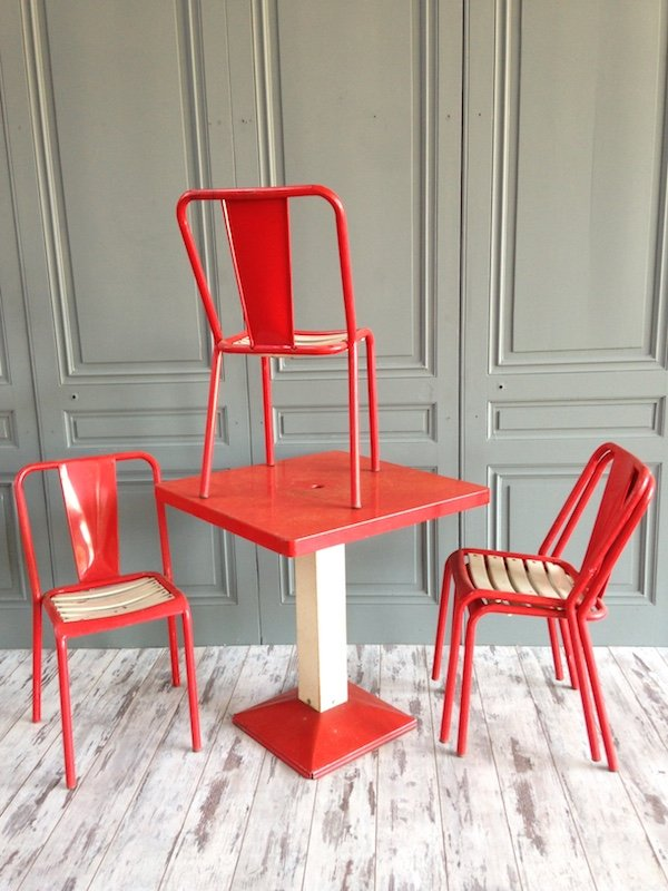 set de salle manger industriel rouge et blanc par xavier pauchard pour tolix 1950s en vente. Black Bedroom Furniture Sets. Home Design Ideas