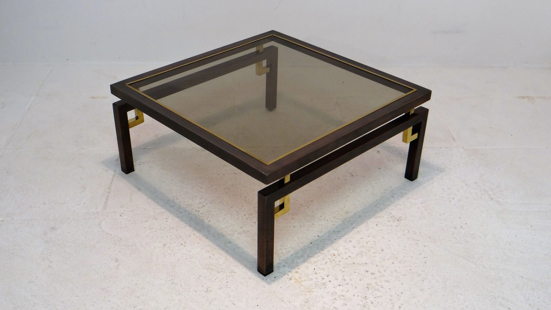 Vintage brushed bronze copper coffee table from belgochrom
