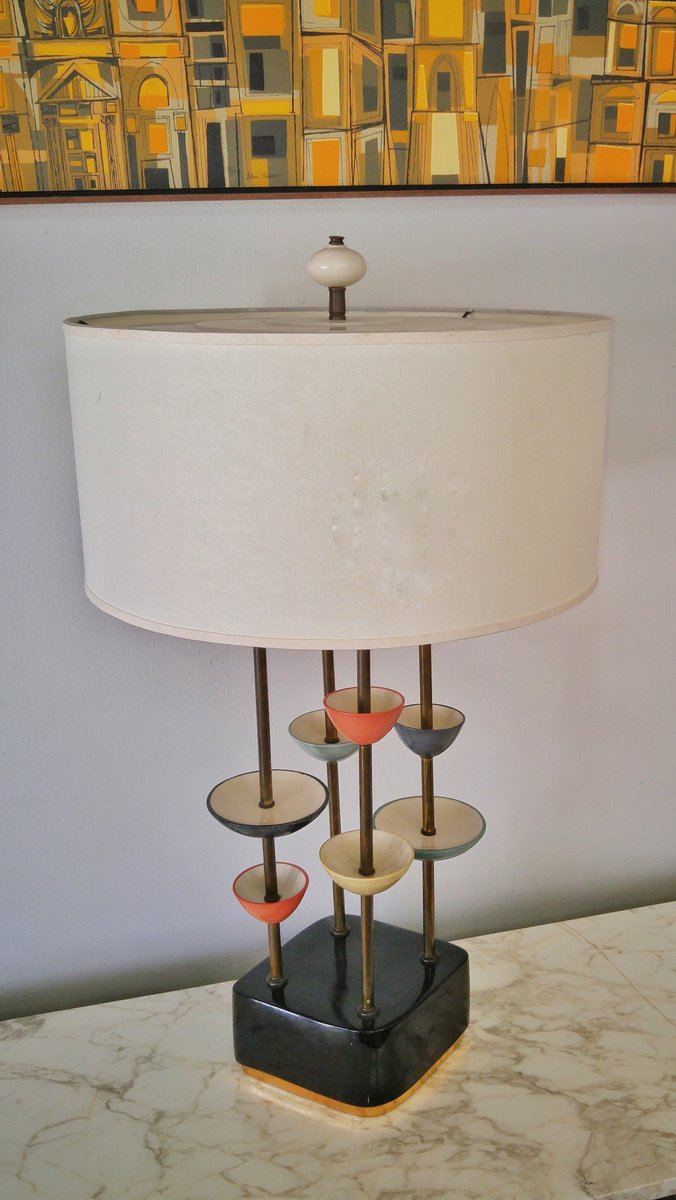 Modernistische Keramik & Messing Lampe