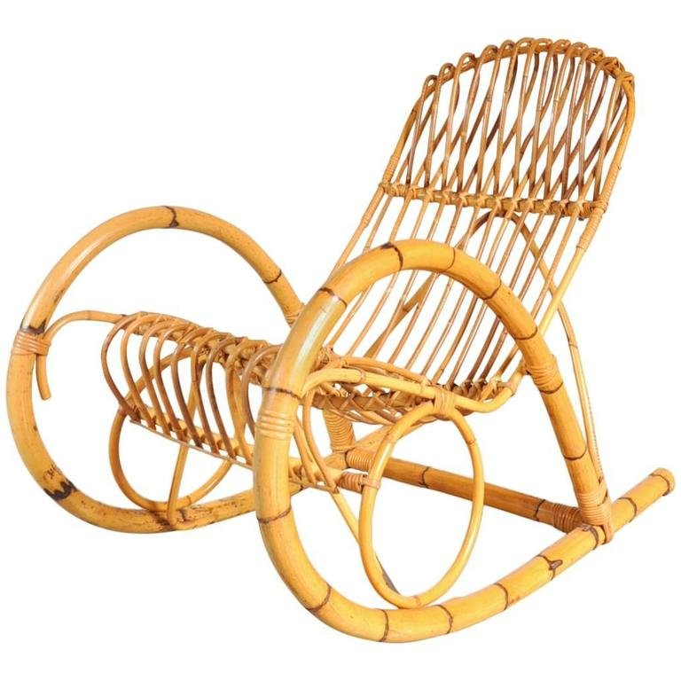Sensational Italian Rattan Rocking Chair 1950S Gmtry Best Dining Table And Chair Ideas Images Gmtryco