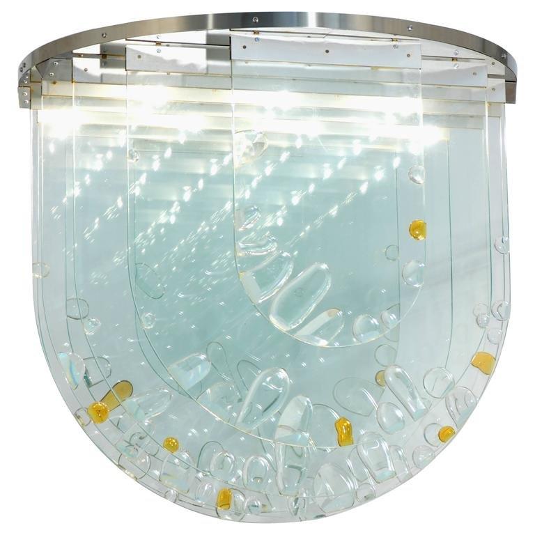 Tschechische Deckenlampe aus Glas von Ernest Krejza & Milos Kramolis, ...