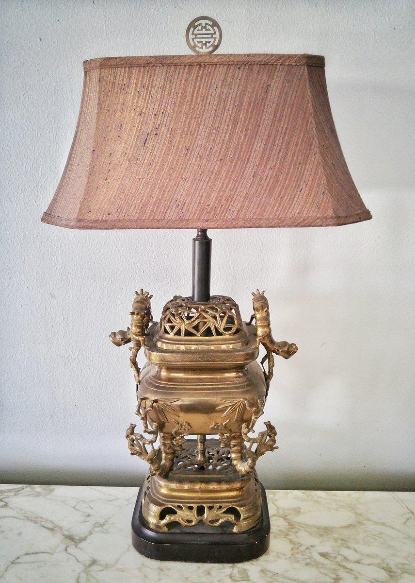 Messing Drachenlampe in Bambusoptik