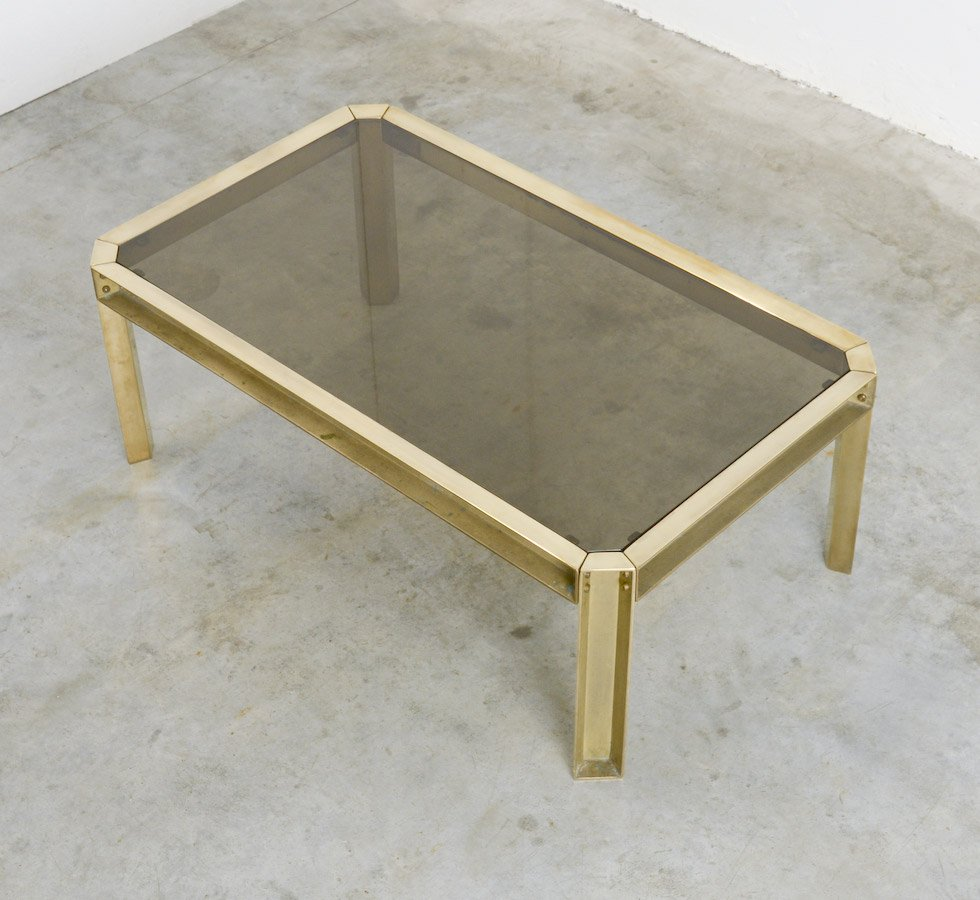 Solid Brass & Smoked Glass Coffee Table, 1970s For Sale At