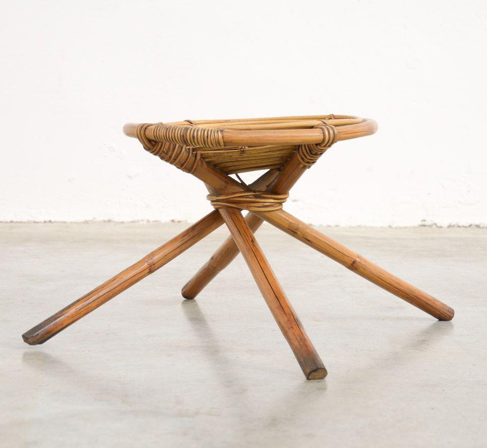 tabouret bas en bambou 1970s en vente sur pamono. Black Bedroom Furniture Sets. Home Design Ideas