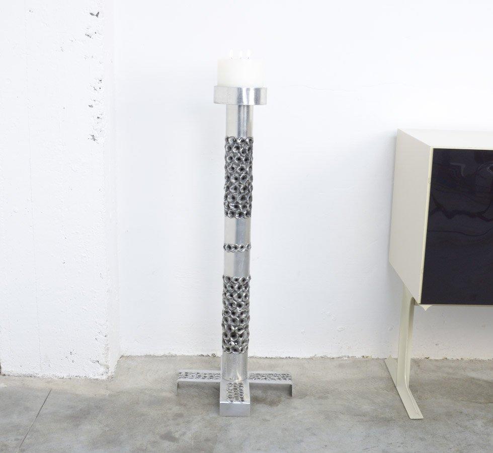 Großer Brutalistischer Aluminium Kerzenständer von Aluclair, 1970er