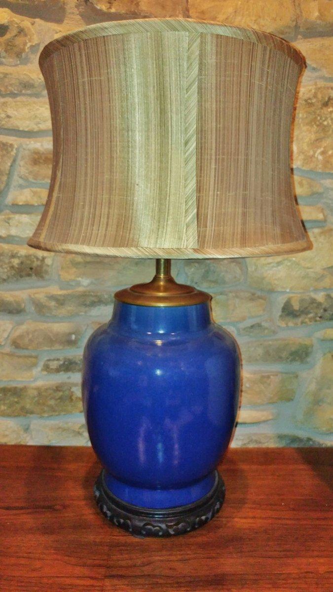 Blaue Keramik Ingwertopf Lampe