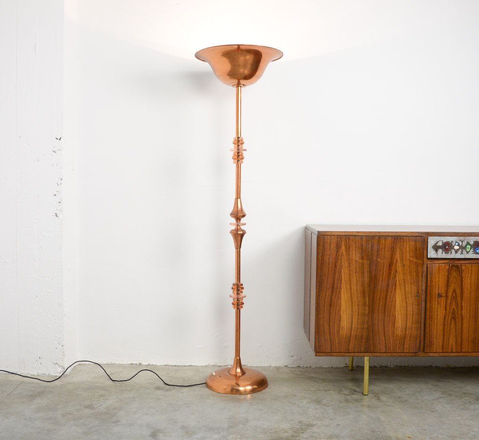 copper art deco floor lamp for sale at pamono. Black Bedroom Furniture Sets. Home Design Ideas