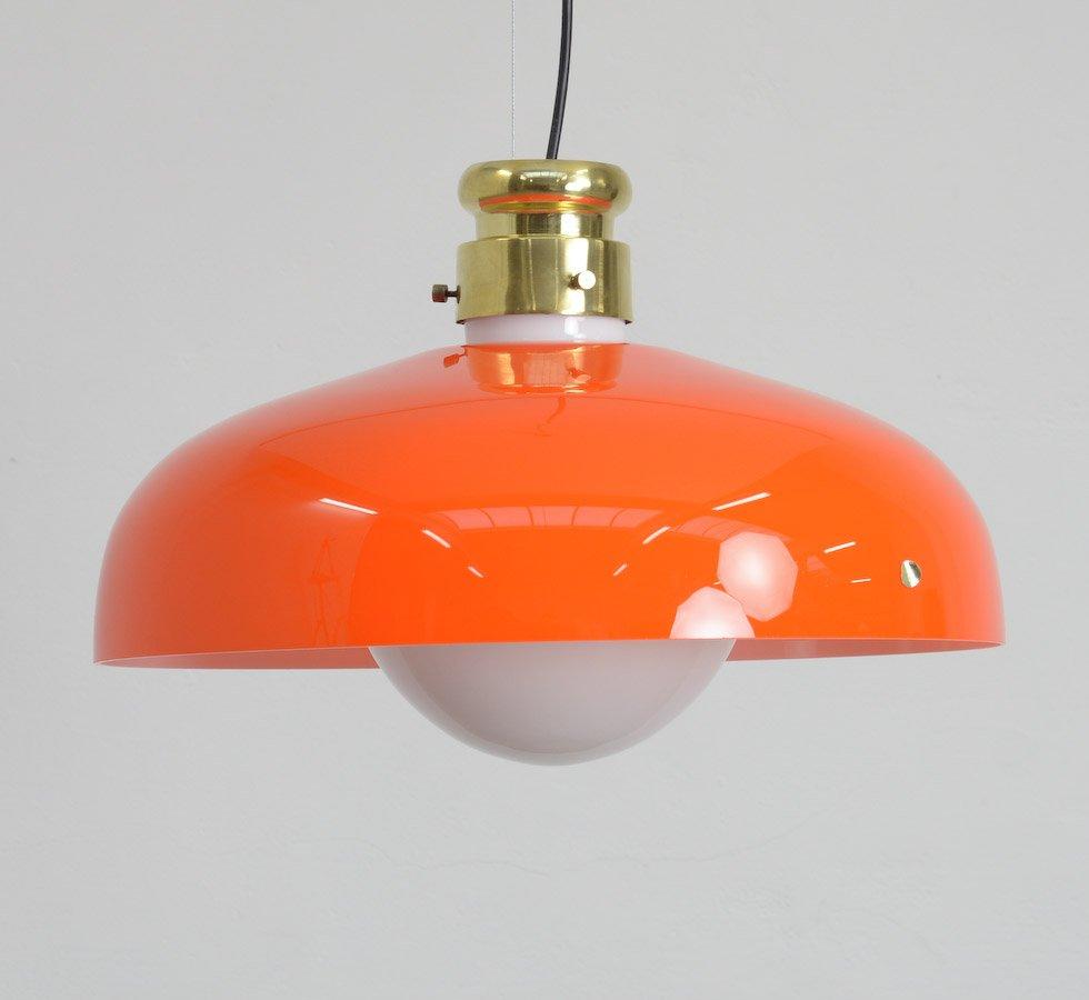 Orange Murano Glas Hängelampe von Alessandro Pianon für Vistosi
