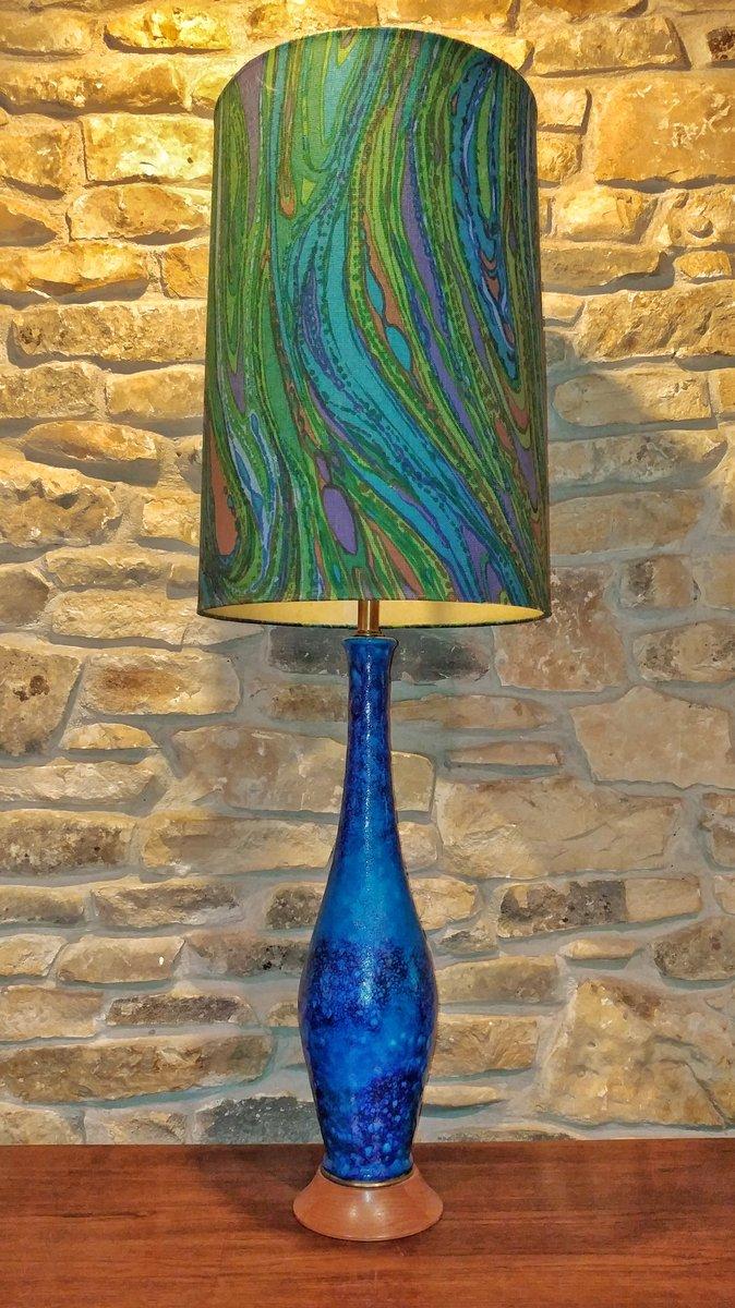 Hohe Blau Glasierte Schwedische Lava-Tischlampe