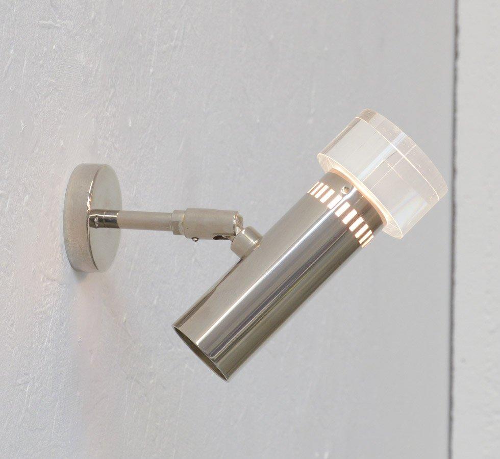 Vintage Wandlampe aus Chrom & Glasfaser
