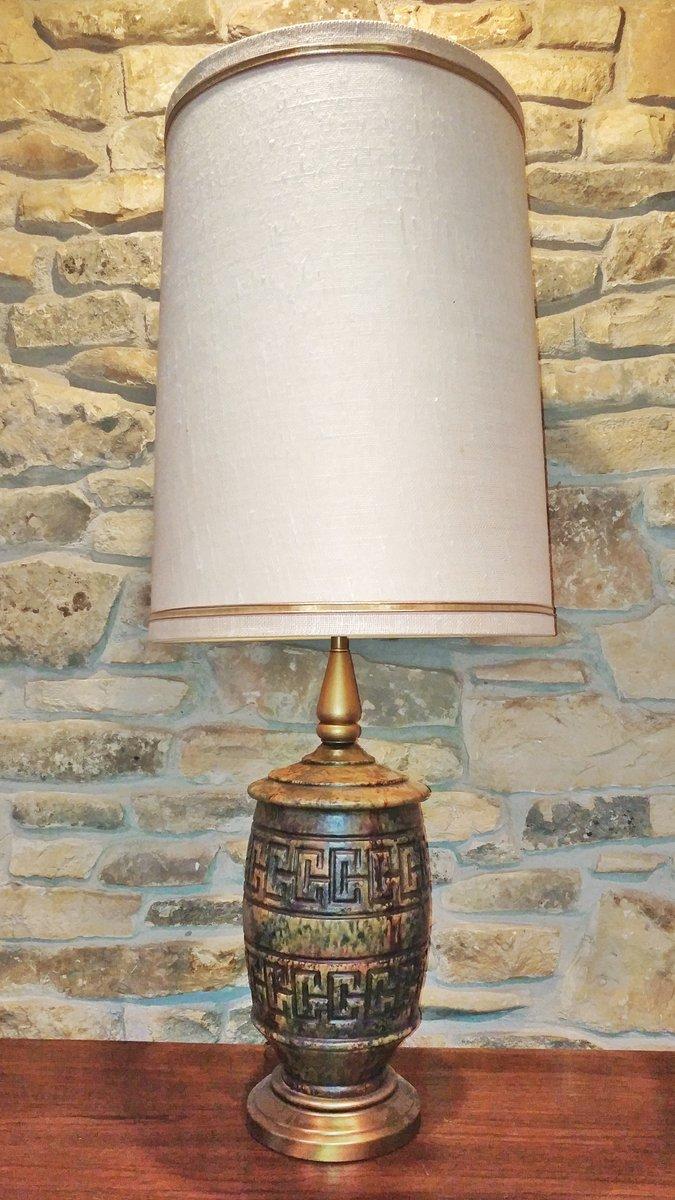 Glasierte Keramik Lampe mit Geometrischen Muster