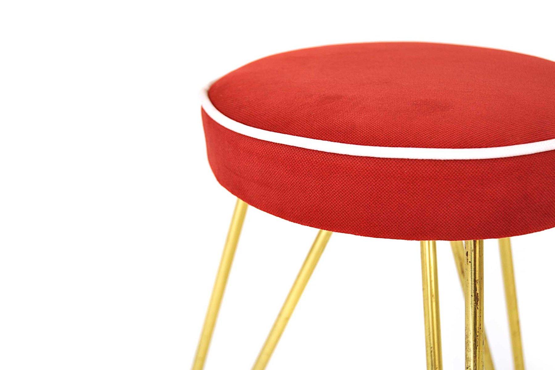 anthroposophischer sterreichischer hocker aus messing stoff 1950er bei pamono kaufen. Black Bedroom Furniture Sets. Home Design Ideas